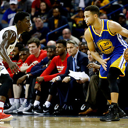 Dec 13, 2016; New Orleans, LA, USA;  Golden State Warriors guard Stephen Curry (30) is defended by New Orleans Pelicans guard Jrue Holiday (11) during the second half of a game at the Smoothie King Center. The Warriors defeated the Pelicans 113-109. Mandatory Credit: Derick E. Hingle-USA TODAY Sports