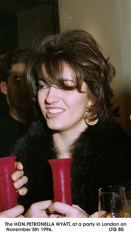 The HON.PETRONELLA WYATT, at a party in London on November 5th 1996.                                          LTG 85