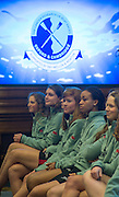London. Great Britain.  <br /> <br /> CUWBC athletes watch the weigh-in at the 2016 Varsity Boat Race. Crew announcement and  crew weigh-in. Central Hall. Westminster Central London,  Tuesday  01/03/2016  <br /> <br /> [Mandatory Credit, Peter Spurrier/ Intersport Images].