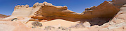 "Panoramic view of ""The Alcove,"" a sandstone blowout above ""The Wave,"" North Coyote Buttes, Vermillion Cliffs National Monument, Arizona."