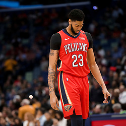 Feb 14, 2019; New Orleans, LA, USA; New Orleans Pelicans forward Anthony Davis (23) against the Oklahoma City Thunder during the second quarter at the Smoothie King Center. Mandatory Credit: Derick E. Hingle-USA TODAY Sports