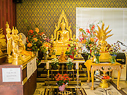 "11 MARCH 2012 - CHANDLER, AZ:      Buddha statues in the ""bot"" or ordination hall at Wat Pa in Chandler, AZ, Sunday.  Wat Pa serves the Theravada Buddhist community in the suburbs of Phoenix.  PHOTO BY JACK KURTZ"