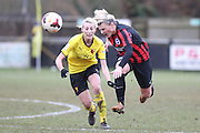 Danielle Carlton takes a knock during the Women's FA Cup match between Watford Ladies FC and Brighton Ladies at the Broadwater Stadium, Berkhampstead, United Kingdom on 1 February 2015. Photo by Stuart Butcher.
