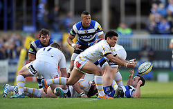 David Lemi (Worcester) passes the ball - Photo mandatory by-line: Patrick Khachfe/JMP - Tel: Mobile: 07966 386802 19/04/2014 - SPORT - RUGBY UNION - The Recreation Ground, Bath - Bath Rugby v Worcester Warriors - Aviva Premiership.