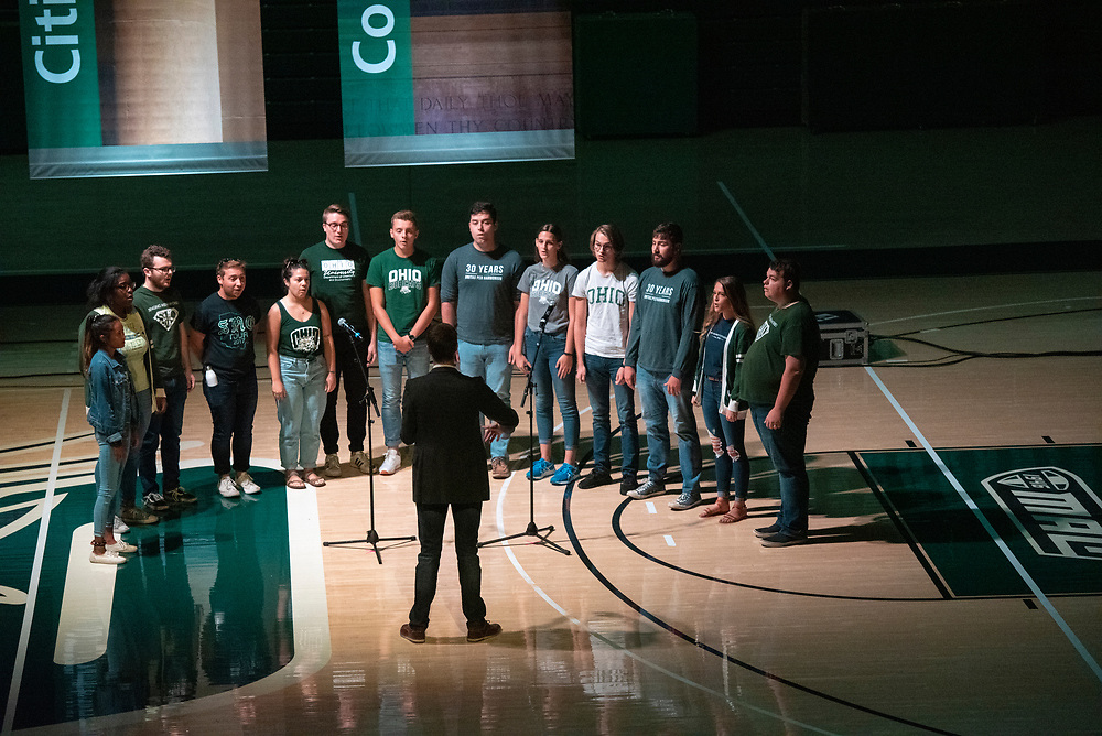 A chorus group performs during the 2019 First Year Convocation. Photo by Hannah Ruhoff