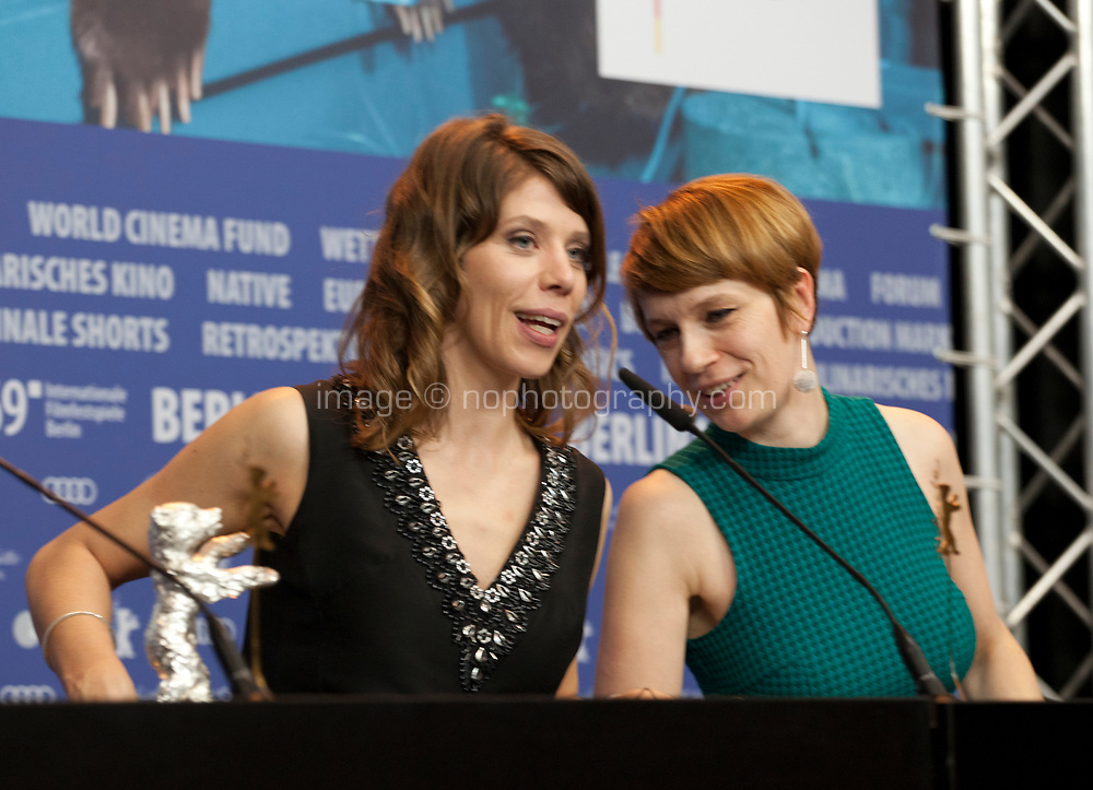 Director Nora Fingscheidt, winner of the Silver Bear Alfred Bauer Prize for a feature film that opens new perspectives for the film System Crasher and Jenni Zylka at the award winners press conference at the 69th Berlinale International Film Festival, on Saturday 16th February 2019, Hotel Grand Hyatt, Berlin, Germany.