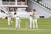 Ateeq Javid is trapped LBW by James Harris during the Specsavers County Champ Div 2 match between Middlesex County Cricket Club and Leicestershire County Cricket Club at Lord's Cricket Ground, St John's Wood, United Kingdom on 17 May 2019.
