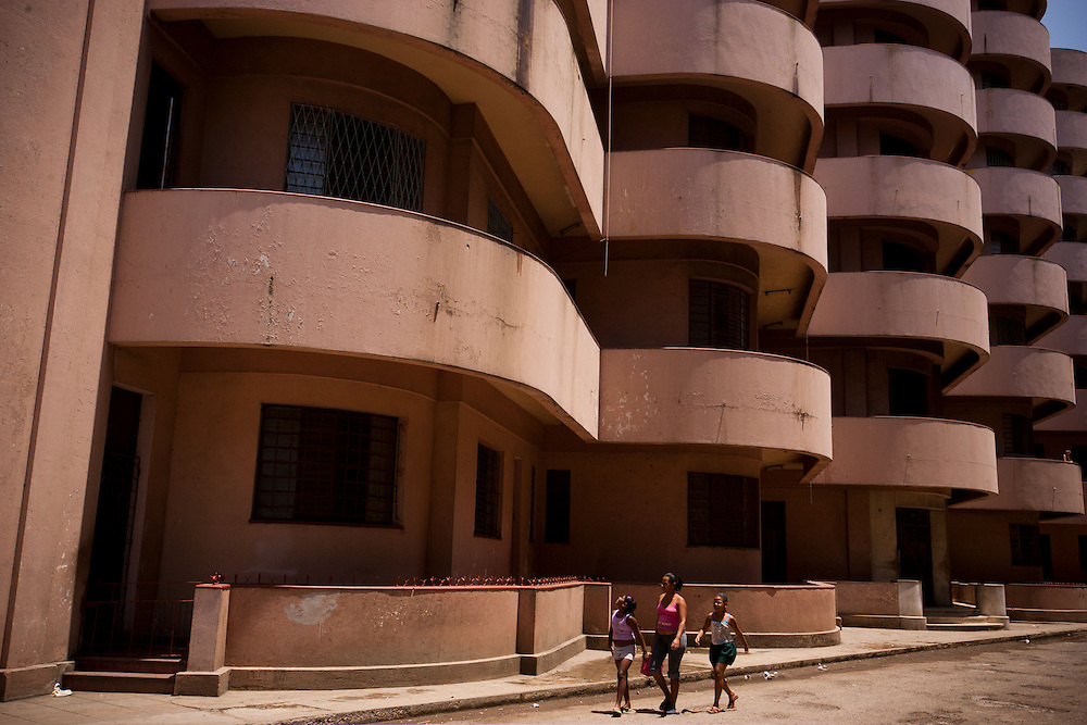 An empty apartment building near the wterfron may be next in line for face-lift as the neighborhood undergoes rehabilitation along the oldest strip of the Malecón, in Havana, Cuba, on Sunday, April 26, 2008..