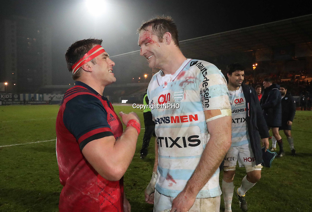 European Rugby Champions Cup Round 1, Stade Yves-du-Manoir, Paris, France 7/1/2017<br /> Racing 92 vs Munster<br /> Munster&Otilde;s CJ Stander and Ali Williams of Racing 92 after the match<br /> Mandatory Credit &copy;INPHO/Billy Stickland