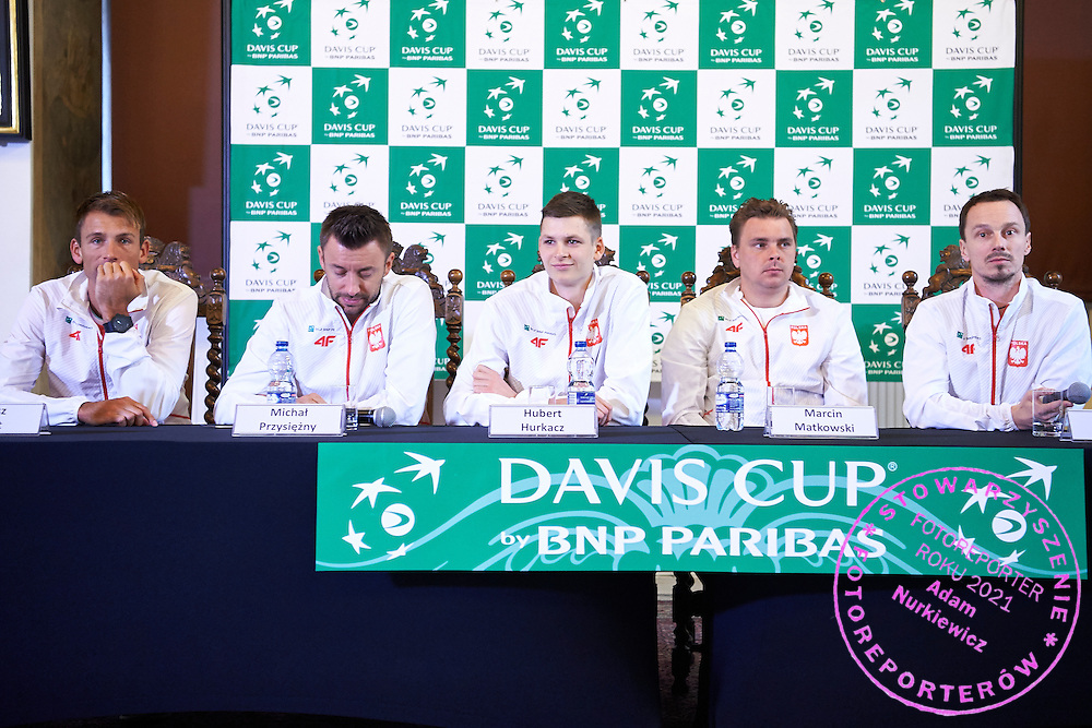 GDANSK, POLAND - 2016 MARCH 03: (L-R) Lukasz Kubot and Michal Przysiezny and Hubert Hurkacz and Marcin Matkowski and Radoslaw Szymanik - captain national team of Poland attend press conference one day before the Davies Cup / World Group 1st round tennis match between Poland and Argentina at Ergo Arena on March 3, 2016 in Gdansk, Poland<br /> <br /> Picture also available in RAW (NEF) or TIFF format on special request.<br /> <br /> Any editorial, commercial or promotional use requires written permission.<br /> <br /> Mandatory credit:<br /> Photo by &copy; Adam Nurkiewicz / Mediasport