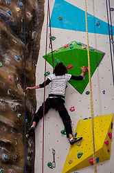 Medical students and volunteers students from the University of Edinburghendured a training session on a climbing wall ahead of their research trip to the Andes which will study the effects of altitude and low-oxygen environments on the human body. Millie Wood extends her limits. Centre for Sport and Excellence, University of Edinburgh24 April 2014 (c) GER HARLEY | StockPix.eu