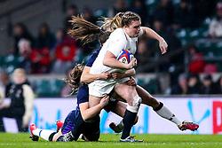 Sarah Bern of England Women is tackled - Mandatory by-line: Robbie Stephenson/JMP - 16/03/2019 - RUGBY - Twickenham Stadium - London, England - England Women v Scotland Women - Women's Six Nations