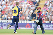 Boyd Rankin celebrates the wicket of Ben Duckett during the NatWest T20 Blast semi final match between Northamptonshire County Cricket Club and Warwickshire County Cricket Club at Edgbaston, Birmingham, United Kingdom on 29 August 2015. Photo by David Vokes.