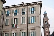 Casale Monferrato, Italy, feb.2010. Flag with Eternit-giustizia-Eternit-Justice.