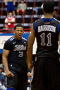 DALLAS, TX - JANUARY 6:  Pat Swilling Jr. #2 of the Tulsa Golden Hurricane celebrates after hitting the game winning 3-pointer against the SMU Mustangs on January 6, 2013 at Moody Coliseum in Dallas, Texas.  (Photo by Cooper Neill/Getty Images) *** Local Caption *** Pat Swilling Jr.