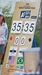 "21.07.2012, Klagenfurt, Strandbad, AUT, Beachvolleyball World Tour Grand Slam 2012, im Bild high Scores BRA/USA// during the A1 Beachvolleyball Grand Slam 2012 at the ""Strandbad"" Klagenfurt, Austria on 2012/07/21. EXPA Pictures © 2012, EXPA Pictures © 2012, PhotoCredit: EXPA/ Mag. Gert Steinthaler"