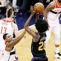 07 December 2017: Phoenix Suns forward Josh Jackson (20) takes a jump shot over Washington Wizards guard Bradley Beal (3) during the Washington Wizards 109-99 victory over the Phoenix Suns, at the Talking Stick Resort Arena, Phoenix, Arizona, USA.