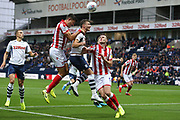 Stoke City defender Danny Batth (6) and Preston North End defender Ben Davies (6)  during the EFL Sky Bet Championship match between Preston North End and Stoke City at Deepdale, Preston, England on 21 August 2019.