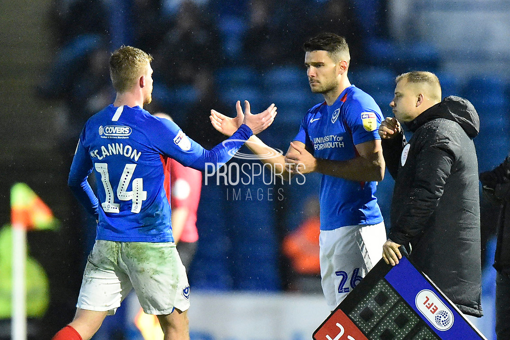 Substitution - Andy Cannon (14) of Portsmouth is replaced by Gareth Evans (26) of Portsmouth during the EFL Sky Bet League 1 match between Portsmouth and Wycombe Wanderers at Fratton Park, Portsmouth, England on 26 December 2019.