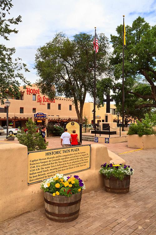Taos Plaza and the Hotel La Fonda.