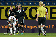 Onderwerp/Subject: Willem II - FC Utrecht - Eredivisie<br /> Reklame:  <br /> Club/Team/Country: <br /> Seizoen/Season: 2012/2013<br /> FOTO/PHOTO: Alexander GERNDT (R) of FC Utrecht celebrating his goal with Jacob MULENGA (C) of FC Utrecht and Anouar KALI (L) of FC Utrecht and Kees VAN BUUREN (FRONT) of Willem II dejected. (Photo by PICS UNITED)<br /> <br /> Trefwoorden/Keywords: <br /> #02 #03 $94 &plusmn;1342772348418<br /> Photo- &amp; Copyrights &copy; PICS UNITED <br /> P.O. Box 7164 - 5605 BE  EINDHOVEN (THE NETHERLANDS) <br /> Phone +31 (0)40 296 28 00 <br /> Fax +31 (0) 40 248 47 43 <br /> http://www.pics-united.com <br /> e-mail : sales@pics-united.com (If you would like to raise any issues regarding any aspects of products / service of PICS UNITED) or <br /> e-mail : sales@pics-united.com   <br /> <br /> ATTENTIE: <br /> Publicatie ook bij aanbieding door derden is slechts toegestaan na verkregen toestemming van Pics United. <br /> VOLLEDIGE NAAMSVERMELDING IS VERPLICHT! (&copy; PICS UNITED/Naam Fotograaf, zie veld 4 van de bestandsinfo 'credits') <br /> ATTENTION:  <br /> &copy; Pics United. Reproduction/publication of this photo by any parties is only permitted after authorisation is sought and obtained from  PICS UNITED- THE NETHERLANDS