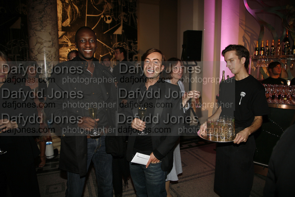 Andrew Kumah and Julian Macdonald, Party to celebrate the Christian Lacroix Fashion in Motion fashion show and the opening of  M/M Paris: Antigone Under Hypnosis part of  Paris Calling the UK-wide celebration of contemporary French culture. V. & A. London. 31 October 2006. -DO NOT ARCHIVE-© Copyright Photograph by Dafydd Jones 66 Stockwell Park Rd. London SW9 0DA Tel 020 7733 0108 www.dafjones.com