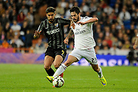 Real Madrid´s Isco and Malaga´s Samuel Garcia Sanchez during 2014-15 La Liga match between Real Madrid and Malaga at Santiago Bernabeu stadium in Madrid, Spain. April 18, 2015. (ALTERPHOTOS/Luis Fernandez)