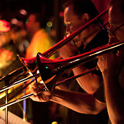 Trombonist Arturo Velasco, foreground, plays with the salsa orchestra Costa Azul at El Floridita Restaurant in Hollywood Calif., on August 18, 2009.  Photo by Jen Klewitz