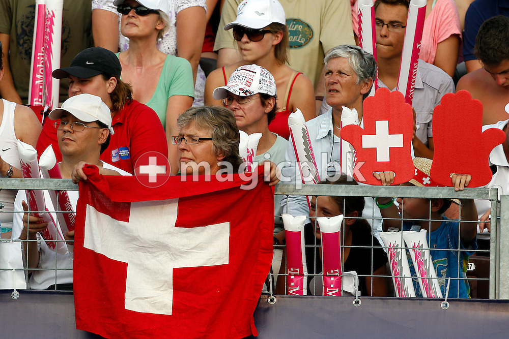 Magda VAN BERKEL (L) of Switzerland cheers for her daughter Martina (not pictured) during the women's 200m Butterfly Semifinal 1 at the European Swimming Championship at the Hajos Alfred Swimming complex in Budapest, Hungary, Saturday, Aug. 14, 2010. (Photo by Patrick B. Kraemer / MAGICPBK)