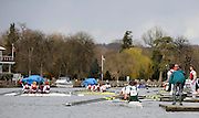 Henley, GREAT BRITAIN, General View,  crews coming into the  boating pontoons, National Junior Sculling Head, Henley on Thames,   03/03/2008  2008. [Mandatory Credit, Peter Spurrier/Intersport-images] Rowing Courses, Henley Reach, Henley, ENGLAND