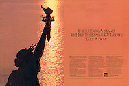 American Express, Statue of Liberty, golden sun streak, take a stand