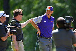 Dabo Swinney reacts to pranking Dan Mullen during the Chick-fil-A Peach Bowl Challenge at the Oconee Golf Course at Reynolds Plantation, Sunday, May 1, 2018, in Greensboro, Georgia. (Dale Zanine via Abell Images for Chick-fil-A Peach Bowl Challenge)