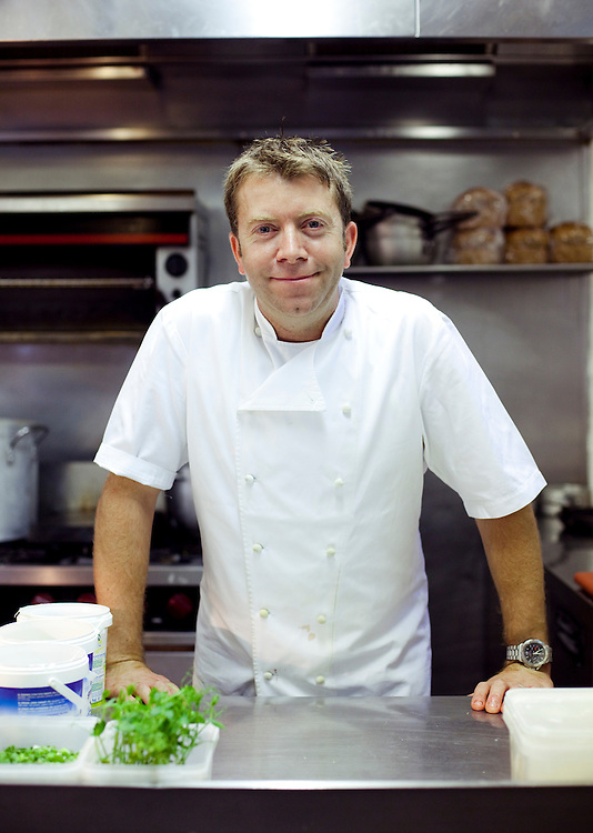 Chef Sean Hope posing for a portrait in his Kitchen at the Red Lion Inn. Leicestershire
