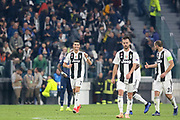 Juventus Forward Cristiano Ronaldo smiles and celebrates with Juventus Defender Giorgio Chiellini 1-0 during the Champions League Group H match between Juventus FC and Manchester United at the Allianz Stadium, Turin, Italy on 7 November 2018.