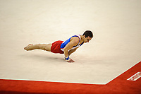 Gael da SILVA (FRA), competes in the floor exercise, The London Prepares Visa International Gymnastics,
