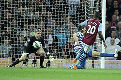 Aston Villa's Christian Benteke scores his second goal - Photo mandatory by-line: Robbie Stephenson/JMP - Mobile: 07966 386802 - 07/04/2015 - SPORT - Football - Birmingham - Villa Park - Aston Villa v Queens Park Rangers - Barclays Premier League