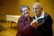 Portraits of Holocaust Survivors: <br /> A portrait of Romanian born Holocaust Survivor, Sarah and Joseph Leibovitch, taken on February 7'th, 2014. Mr. Leibovich was born in 1928 and and Mrs. Leibovich was born on 1933..They immigrated separately to Israel on 1946 where the later got married. The Leibovich couple lives in Bitan Aharon, Israel. Photo by Gili Yaari
