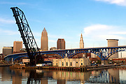 Cleveland Skyline behind the Cuyahoga River on May 5, 2011.
