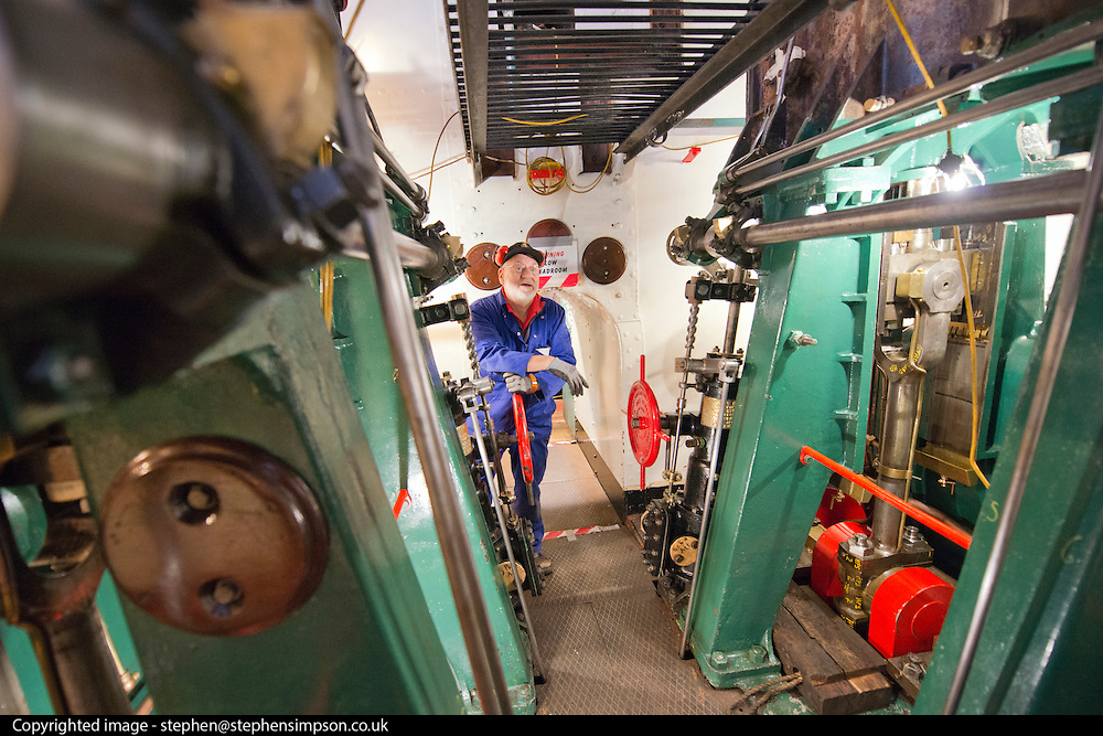****COPY HERE****  (https://www.dropbox.com/s/5mg81qiiuy22tre/adamson.rtf?dl=0)   © Licensed to London News Pictures. 02/12/2014. Liverpool , UK . Volunteer John Hake in the partially restored engine room. The only surviving steam powered tug tender, the Daniel Adamson, is being completely renovated by a team of volunteers in Liverpool. The vessel, which has had 90,000 man hours already spent on it, was bought for only one pound is the awaiting the decision of the Heritage LotteryFund on an application of £3.6m to bring her back to her full glory.  . Photo credit : Stephen Simpson/LNP<br /> <br /> COPY HERE https://www.dropbox.com/s/5mg81qiiuy22tre/adamson.rtf?dl=0