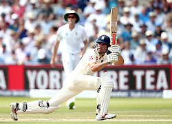 Alastair Cook of England  plays a sweep shot - Mandatory by-line: Robbie Stephenson/JMP - 08/07/2017 - CRICKET - Lords - London, United Kingdom - England v South Africa - Investec Test Series