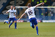 Bury Forward, Ryan Lowe runs to celebrate with team mates, 2-2,  during the Sky Bet League 1 match between Bury and Southend United at the JD Stadium, Bury, England on 8 May 2016. Photo by Mark Pollitt.