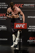 """GLASGOW, UNITED KINGDOM, JULY 15, 2017: Mixed martial arts welterweight division athlete Emil Meek throws his underwear into the audience during a fan Q&A session ahead of """"UFC Fight Night Glasgow: Nelson vs. Ponzinibbio"""" inside the SSE Hydro Arena in Glasgow"""