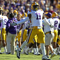 November 6, 2010; Baton Rouge, LA, USA; LSU Tigers linebacker Kelvin Sheppard (11) celebrates following an interception against the Alabama Crimson Tide during the first half at Tiger Stadium.  Mandatory Credit: Derick E. Hingle