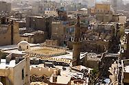 Egypt. Cairo elevated view.  - AL AQMAR mosque - fatimid period - Cairo view from the minaret of the mosque sabil kutab AGA AL SILAHDAR in Al Mu'izz street north   islamic Cairo