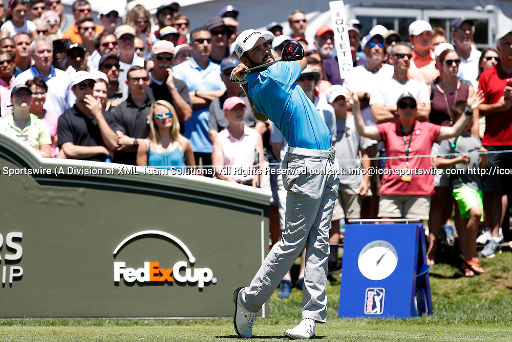 CROMWELL, CT - JUNE 24: Troy Merritt of the United States drives from the 1st tee during the third round of the Travelers Championship on June 24, 2017, at TPC River Highlands in Cromwell, Connecticut. (Photo by Fred Kfoury III/Icon Sportswire)