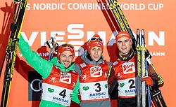 18.12.2016, Nordische Arena, Ramsau, AUT, FIS Weltcup Nordische Kombination, Siegerehrung, im Bild Fabian Riessle (GER, 2. Platz), Sieger Eric Frenzel (GER), Vinzenz Geiger (GER, 3. Platz) // 2nd placed Fabian Riessle of Germany, Winner Eric Frenzel of Germany, 3rd placed Vinzenz Geiger of Germany during Winner Award Ceremony of FIS Nordic Combined World Cup, at the Nordic Arena in Ramsau, Austria on 2016/12/18. EXPA Pictures © 2016, PhotoCredit: EXPA/ JFK