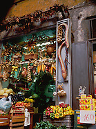 Fresh produce store in Naples, Italy many varieties of fruits and vegetables.