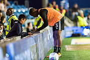 Fulham (3) Ryan Sessegnon during the warm up sign match programme at EFL Sky Bet Championship match between Queens Park Rangers and Fulham at the Loftus Road Stadium, London, England on 29 September 2017. Photo by Sebastian Frej.
