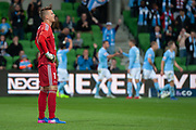 MELBOURNE, VIC - NOVEMBER 09: Wellington Phoenix goalkeeper Filip Kurto (1) shows emotion as City scores at the Hyundai A-League Round 4 soccer match between Melbourne City FC and Wellington Phoenix on November 09, 2018 at AAMI Park in Melbourne, Australia. (Photo by Speed Media/Icon Sportswire)