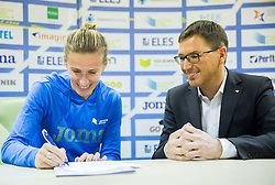 Sonja Roman and Roman Dobnikar during press conference when Slovenian athletes and their coaches sign contracts with Athletic federation of Slovenia for year 2016, on February 25, 2016 in AZS, Ljubljana, Slovenia. Photo by Vid Ponikvar / Sportida